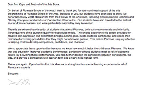 Thank You Letter from PLUMOSA School of the Arts