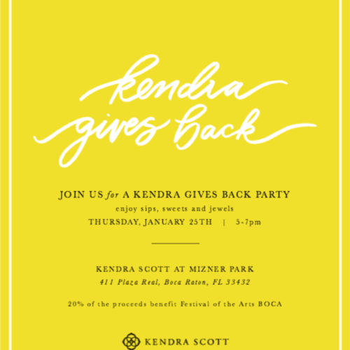 Kendra Gives Back Party - Mark Your Calendars!